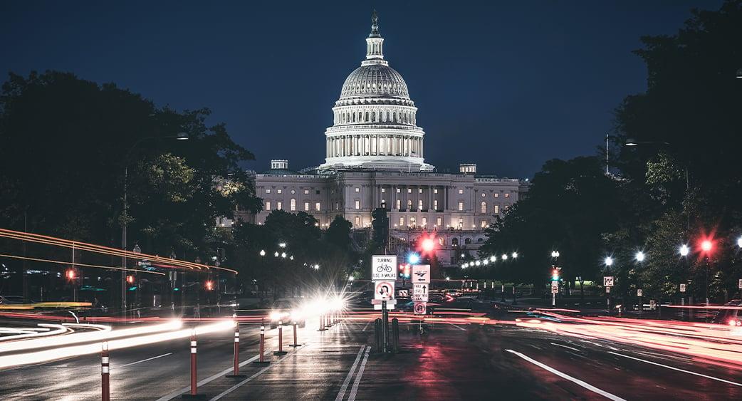 Washington DC capitol building evening traffic